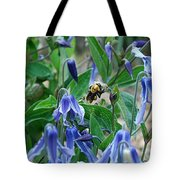 Bee Buzzing Through Blue Beauty Tote Bag