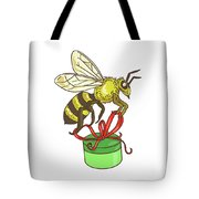 Bee Carrying Gift Box Drawing Tote Bag