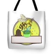 Bee Carrying Gift Box Skep Circle Drawing Tote Bag