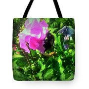 Bee Climbing Into Flower Tote Bag