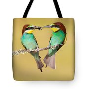 Bee-eater Valentine Heart Tote Bag