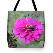 Bee Feeding From Pink Zinnia Tote Bag