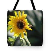 Bee Flying To Bright Lemon Yellow Wild Sunflower In High California Sun Tote Bag
