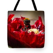 Bee Front With Red Flower Tote Bag