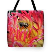 Bee In Dahlia Tote Bag