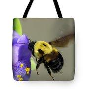 Bee Landing On Spiderwort Flower Tote Bag