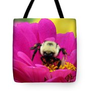Bee On A Hot Pink Zinnia Tote Bag