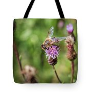 Bee On A Thistle Flower Tote Bag