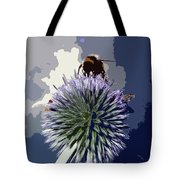 Bee On An Allium Tote Bag