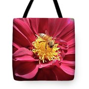 Bee On Beautiful Dahlia Tote Bag