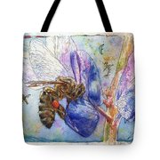 Bee On Blue Lupin Blossom. Tote Bag