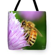 Bee On Chive Flower Tote Bag by Ann E Robson
