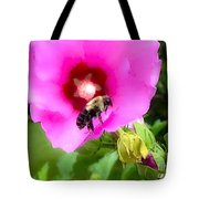 Bee On Edge Of A Hibiscus Flower Tote Bag