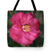 Bee On Pink Camellia Tote Bag