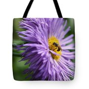 Bee On Purple Daisy Tote Bag