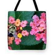 Bee On Rainy Flowers Tote Bag