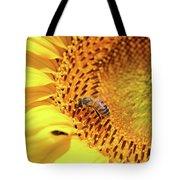 Bee On Sunflower Summer Nature Scene Tote Bag