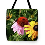 Bee On The Cone Flower Tote Bag