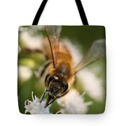 Bee On White Vertical Tote Bag