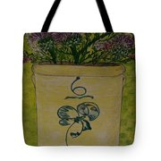 Bee Sting Crock With Good Luck Bow Heather And Thistles Tote Bag