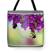Bees On Butterfly Bush Framed Tote Bag