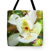 Bees On Open Magnolia Tote Bag