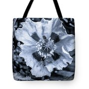 Double Bees On Poppy Bw Tote Bag