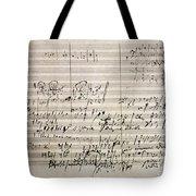 Beethoven Manuscript Tote Bag
