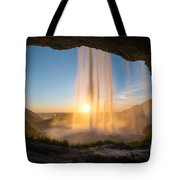 Behind Seljalandsfoss Sunset  Tote Bag