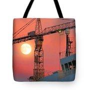 Behind The Crane A Hunter's Moon Rises II Tote Bag