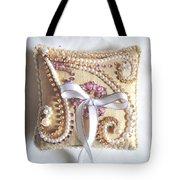 Beige-white Wedding Ring Pillow Tote Bag