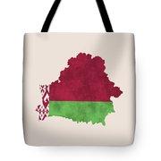 Belarus Map Art With Flag Design Tote Bag