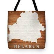 Belarus Rustic Map On Wood Tote Bag