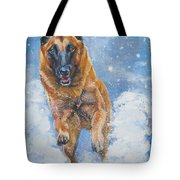 Belgian Malinois In Snow Tote Bag