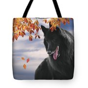 Belgian Shepherd With Autumn Leaves 2 Tote Bag
