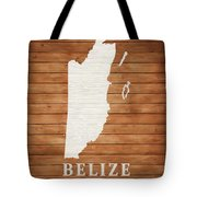 Belize Rustic Map On Wood Tote Bag