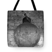 Bell On Bricks B W  Tote Bag