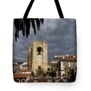 Bell Tower Against Roiling Sky Tote Bag