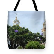 Bell Towers Next To Trees Tote Bag
