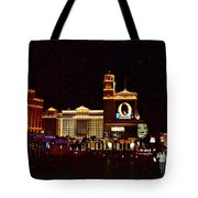 Bellagio And Caesar's Palace In Las Vegas-nevada Tote Bag