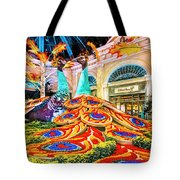 Bellagio Conservatory Fall Peacock Display Side View Wide 2 To 1 Ratio Tote Bag