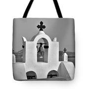Bells In Oia Bw Tote Bag