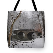 Bells Mill Bridge On A Snowy Day Tote Bag
