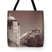 Belltower And Fortress Of Palamidi, Nafplio, Greece. Sepia. Tote Bag