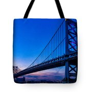 Ben Franklin Bridge At Sunset Tote Bag
