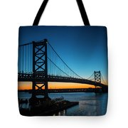 Ben Franklin Bridge In Philadelphia At Dawn Tote Bag