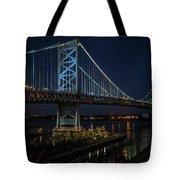 Ben Franklin Bridge In Philadelphia At Night Tote Bag