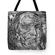 Ben In Wood B W Tote Bag