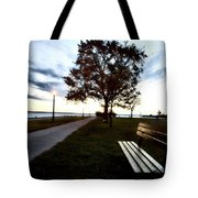 Bench And Street Light Tote Bag