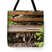 Bench And Wood Pile Tote Bag
